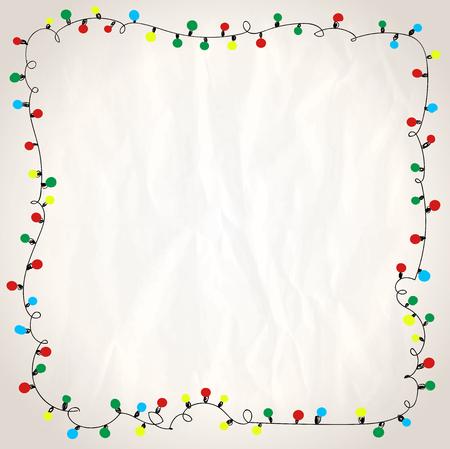 Ilustración de Simple frame with garland lights against paper background, hand drawn doodle illustration - Imagen libre de derechos