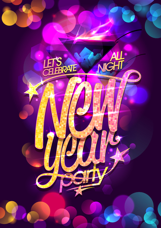 Illustration for New year party vector poster design with burning cocktail and multicolored bokeh lights backdrop - Royalty Free Image