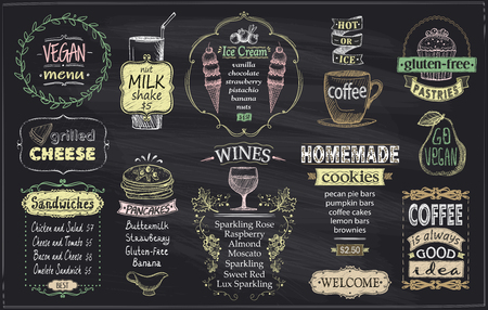 Illustration for Chalkboard menu for cafe or restaurant, vegan menu, gluten free menu, grilled cheese, sandwiches, pancakes, wines, homemade cookies, ice cream and coffee - Royalty Free Image