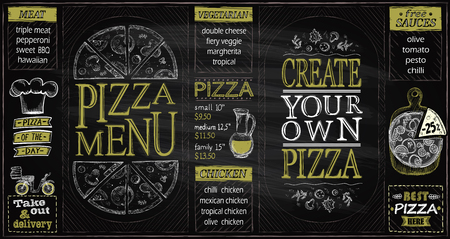 Illustration for Pizza menu list chalkboard set, create your own pizza, pizza of the day, discounts, delivery - Royalty Free Image