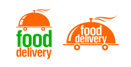 Ilustración de Food delivery signs or logos set, fast and hot cloche on wheels symbol - Imagen libre de derechos