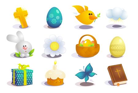 Illustration pour Easter traditional symbols collection, holiday vector icons set - image libre de droit