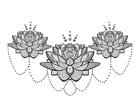 Illustration pour Lotus flowers ornamental tattoo sketch, vector illustration - image libre de droit