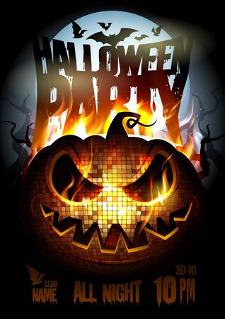 Illustration pour Halloween party poster design with burning in flame angry pumpkin - image libre de droit
