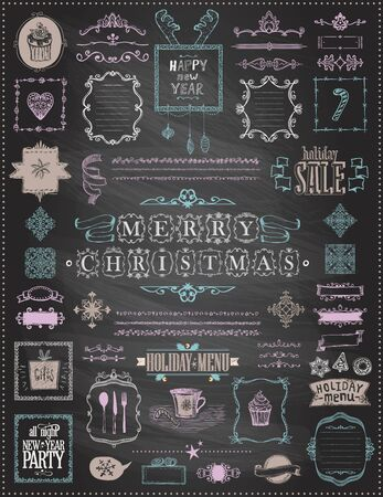 Illustration pour Holiday Christmas and New Year sketch elements set on a chalkboard - ribbons, frames, menus, dividers and phrases, vintage style, doodle vector illustration, hand drawn - image libre de droit