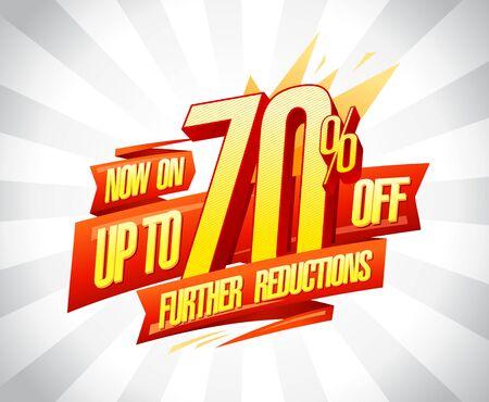 Illustration pour Up to 70% off, further reductions sale poster concept - image libre de droit