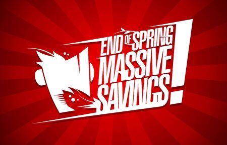 Illustration pour End of spring massive savings sale poster design concept - image libre de droit