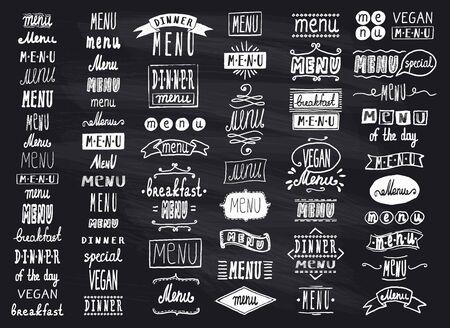 Illustration pour Chalk menu headlines, handwriting lettering graphic set on a chalkboard, vintage style - image libre de droit