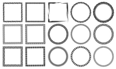 Illustration for Authentic black and white hand drawn graphic frames collection decorated animal prints, waves, ancient drawings - Royalty Free Image