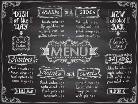 Illustration pour Chalk menu list blackboard design for cafe or restaurant - main and sides, drinks and sweets, salads and starters, dish of the day and alcohol bar - image libre de droit