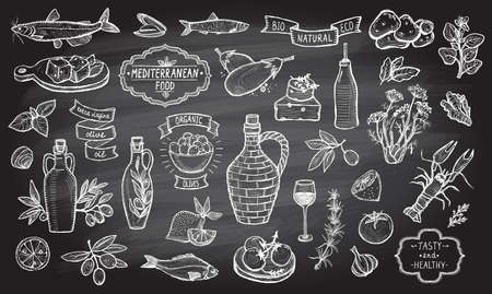 Illustration for Mediterranean traditional food collection on a chalkboard background. European food ingredients - olive oil, vegetables, cheese, herbs and seafood. Labels and lettering ribbons included. - Royalty Free Image
