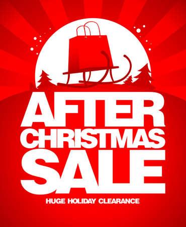 Illustration pour After christmas sale design template with shopping bag on a sled. - image libre de droit
