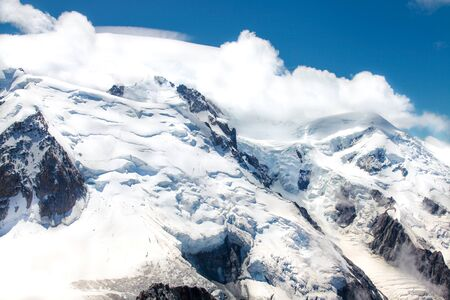 Photo pour French Alp mountains covered in fresh white snow. Mountaineering, travelling. - image libre de droit