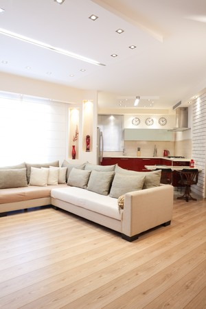 Modern design living room and kitchen white red and wood elements