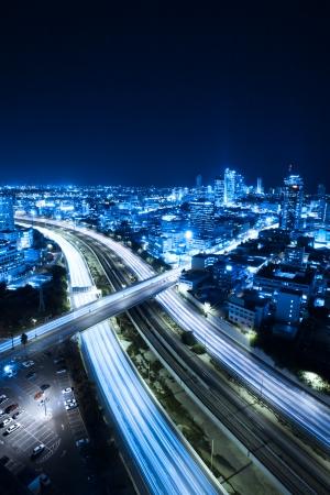 Foto de Aerial  View Of Tel Aviv At Night - Tel Aviv Cityscape - Imagen libre de derechos