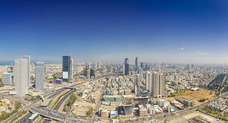 Photo pour Panoramic Shot Of Tel Aviv and Ramat Gan Skyline At Day.  Tel Aviv Cityscape Aerial View - image libre de droit