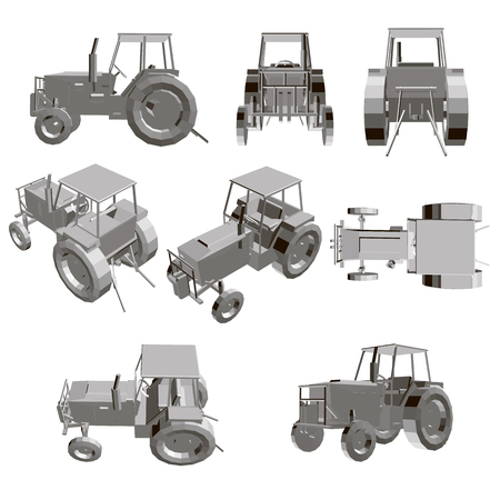 Illustration for Set with a tractor. Model of a detailed tractor in different positions. 3D Vector illustration. - Royalty Free Image