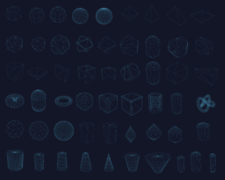 Set with wireframe of geometric shapes of different shapes