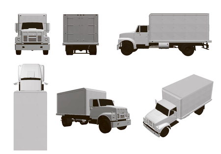 Illustration pour Set with trucks. 6 white truck models from different angles. 3D Vector illustration. - image libre de droit