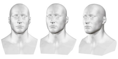 Illustration pour Vector set of isolated male busts of mannequins on white background. 3D. Male bust from different sides. Vector illustration - image libre de droit