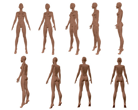 Illustration pour Set with a polygonal girl. 3D. The sequence of species from front to back. Vector illustration - image libre de droit