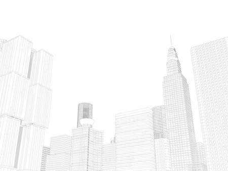 Photo pour Contour of skyscrapers from black lines isolated on white background. 3D. Vector illustration - image libre de droit