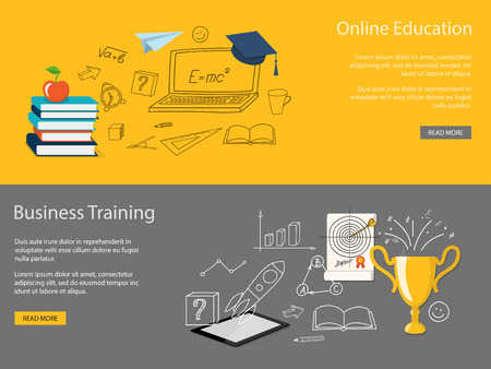 Flat design modern vector illustration set of concept of school, university, business training, online education, study with books, tablet, winner cup - eps 10