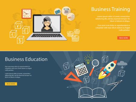 Flat design modern vector illustration concept of business educashion, e-book,  online, e-mail marketing, management, analytics with rocket