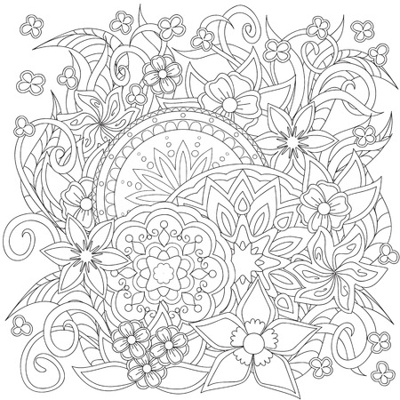 Illustration pour Hand drawn decorated image with doodle flowers and mandalas. Zentangle style. Henna Paisley flowers Mehndi. Image for adults coloring page. Vector illustration - eps 10. - image libre de droit