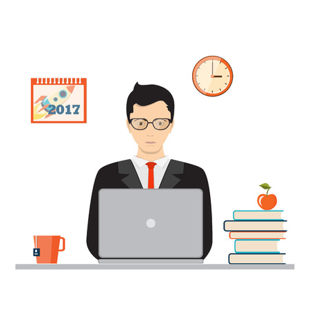 Flat concept of  business, online education, studying, e-learning. Businessman or student is sitting front of a laptop with books and apple. There are clock and calendar 2017 on the back wall. eps 10