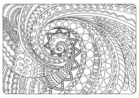 Illustration pour Hand drawn tangled pattern in Arabic, Indian, boho motifs. Image for adult coloring book, decorate plates, porcelain, ceramics, crockery. eps 10 - image libre de droit