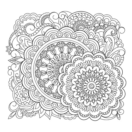 Illustration pour Monochrome outline mandalas with hand drawn elements in Arabic, Indian, turkish, pakistan motifs for yoga, anti-stress therapy, adult coloring book,  clothes, apparel, wall art. - image libre de droit