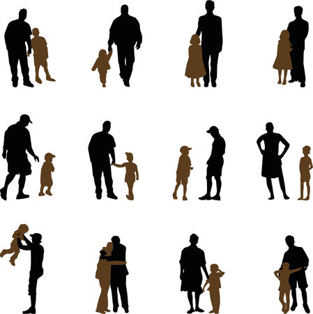 Illustration for father with children silhouettes - Royalty Free Image