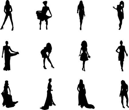 Illustration pour fashion silhouettes - image libre de droit