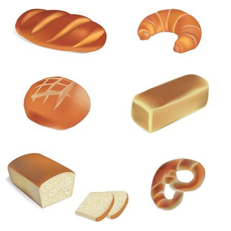 Vektor für various breads and bakery products vector illustrations - Lizenzfreies Bild
