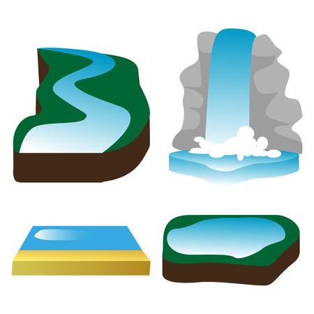 Illustration pour waterfall, river, lake, water, nature, sea, ocean. - image libre de droit