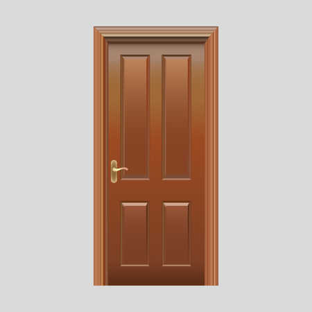 Wooden doors with plug-in glass realistic vector