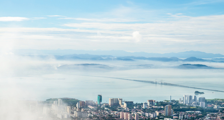 Foto de view point Panorama of Penang ( Georgetown ) in Malaysia seen from Penang Hill  - Imagen libre de derechos