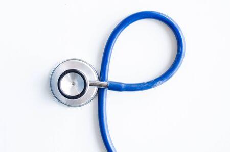 Photo pour Top view blue stethoscope background. health background - image libre de droit