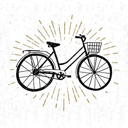 Illustration pour Hand drawn vintage icon with bicycle vector illustration. - image libre de droit