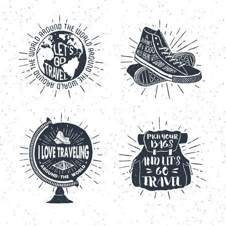 Ilustración de Hand drawn textured vintage labels, retro badges set with globe, sneakers, bag, and lettering vector illustrations. - Imagen libre de derechos