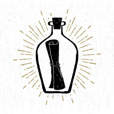 Illustration for Hand drawn vintage icon with a textured letter in a bottle vector illustration. - Royalty Free Image
