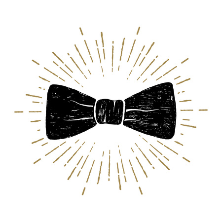 Illustration for Hand drawn bow tie textured vector illustration. - Royalty Free Image