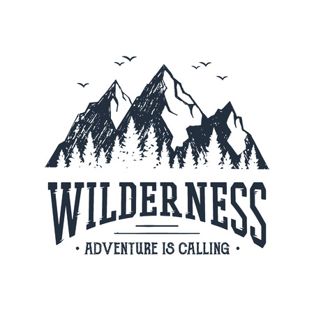 Ilustración de Hand drawn inspirational label with mountains and pine trees textured vector illustrations and Wilderness. Adventure is calling lettering. - Imagen libre de derechos
