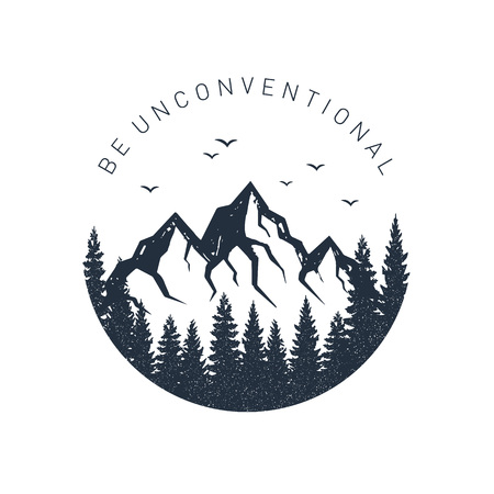 Illustration for Hand drawn inspirational label with pine trees and mountains textured vector illustrations and Be unconventional lettering. - Royalty Free Image