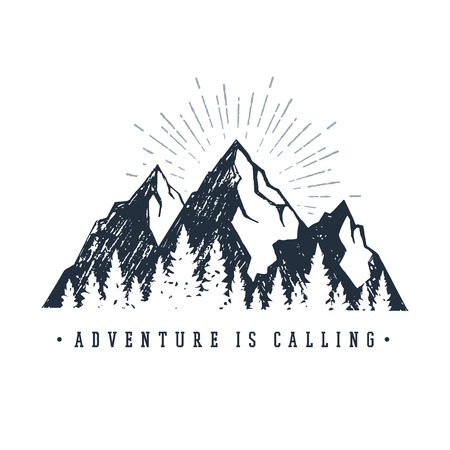 Illustration pour Hand drawn inspirational label with mountains and pine trees textured vector illustrations and Adventure is calling lettering. - image libre de droit