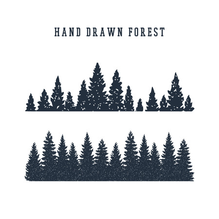 Illustration pour Hand drawn pine forest textured vector illustration. - image libre de droit