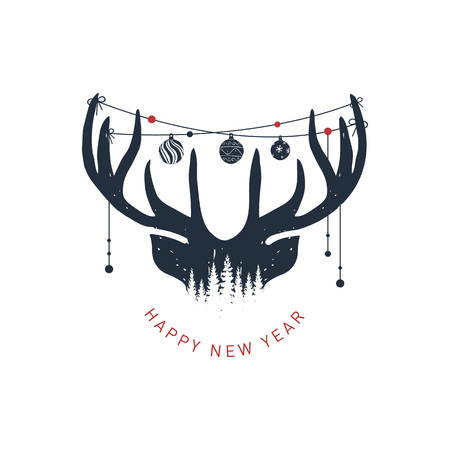 Illustration pour Hand drawn reindeer textured vector illustration and Happy New Year! inspirational lettering. - image libre de droit