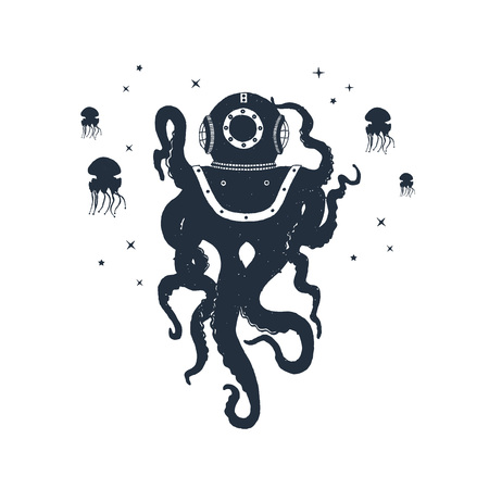 Illustration pour Hand drawn nautical badge with octopus and jellyfish textured vector illustrations. - image libre de droit
