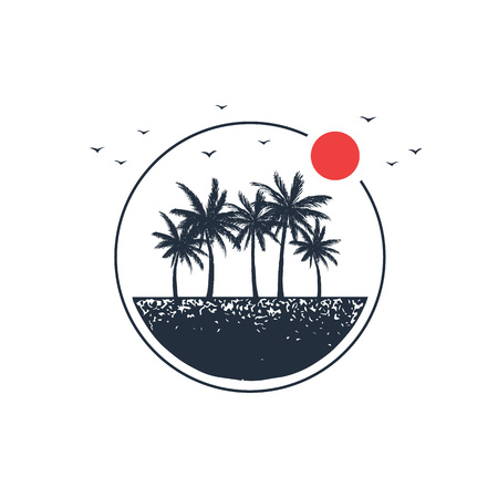 Illustration for Hand drawn travel badge with palm trees textured vector illustration. - Royalty Free Image